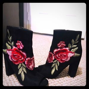 Wild Diva Embroidered Suede Black Booties. 7